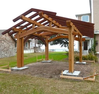 Outdoor kitchen pavilion david yasenchack timber framing for Outdoor pavilion plans